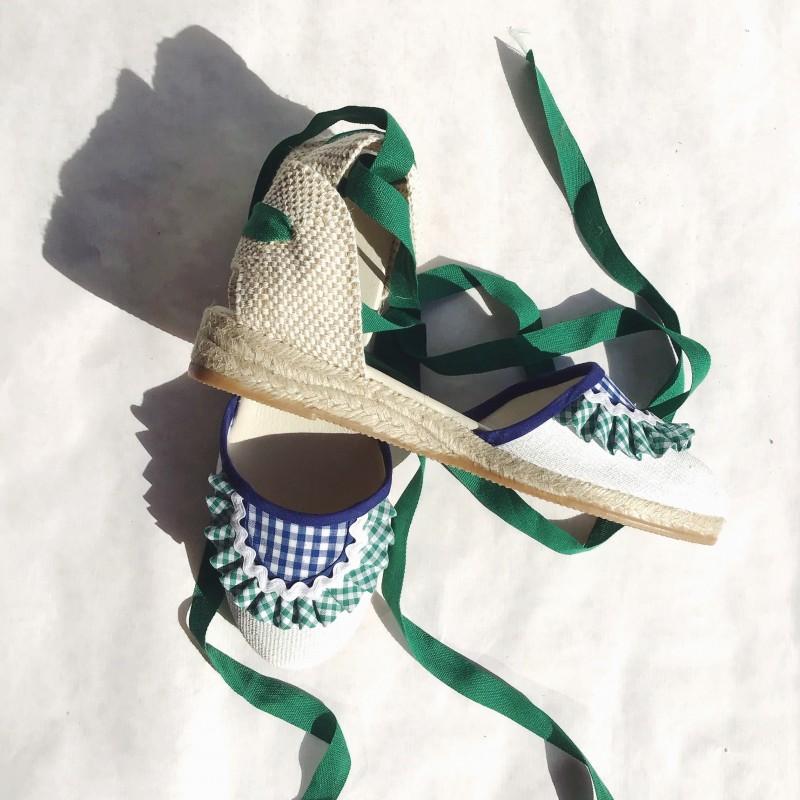 vichy verde y azul