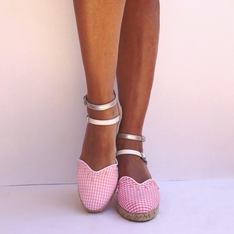 vichy rosa y plata